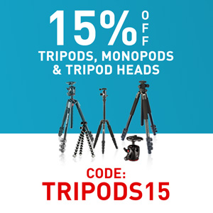 15% off tripods, monopods & tripod heads