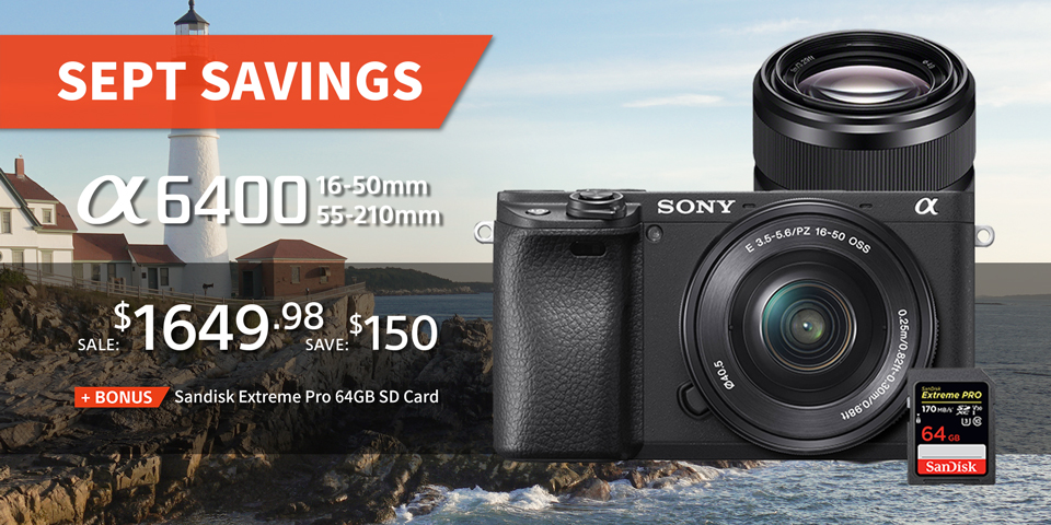 Sony A6400 16-50mm and 55-210mm Lens Kit, save $150, bonus 64GB memory card