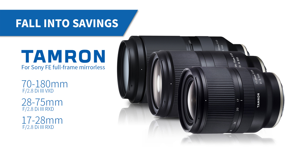 Tamron 17-28mm, 28-75mm, and 70-180mm E-mount sale