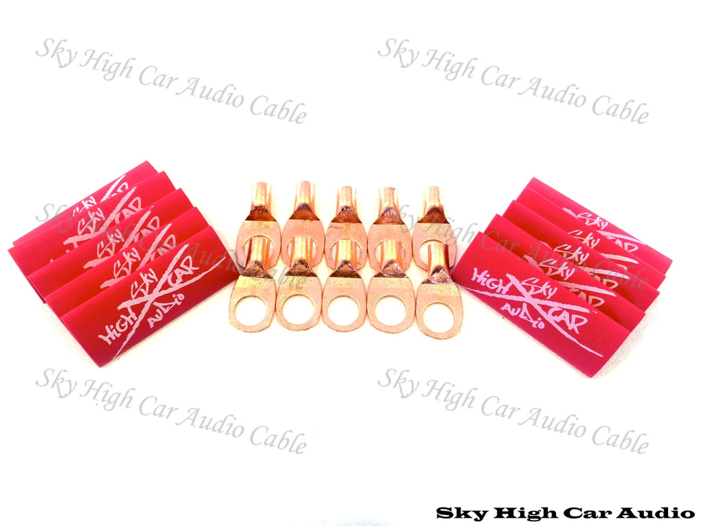 "Sky High Car Audio 8 Gauge Copper Ring Terminals (3/8"" hole) w/ Heat Shrink Tubing - 10 Pack"