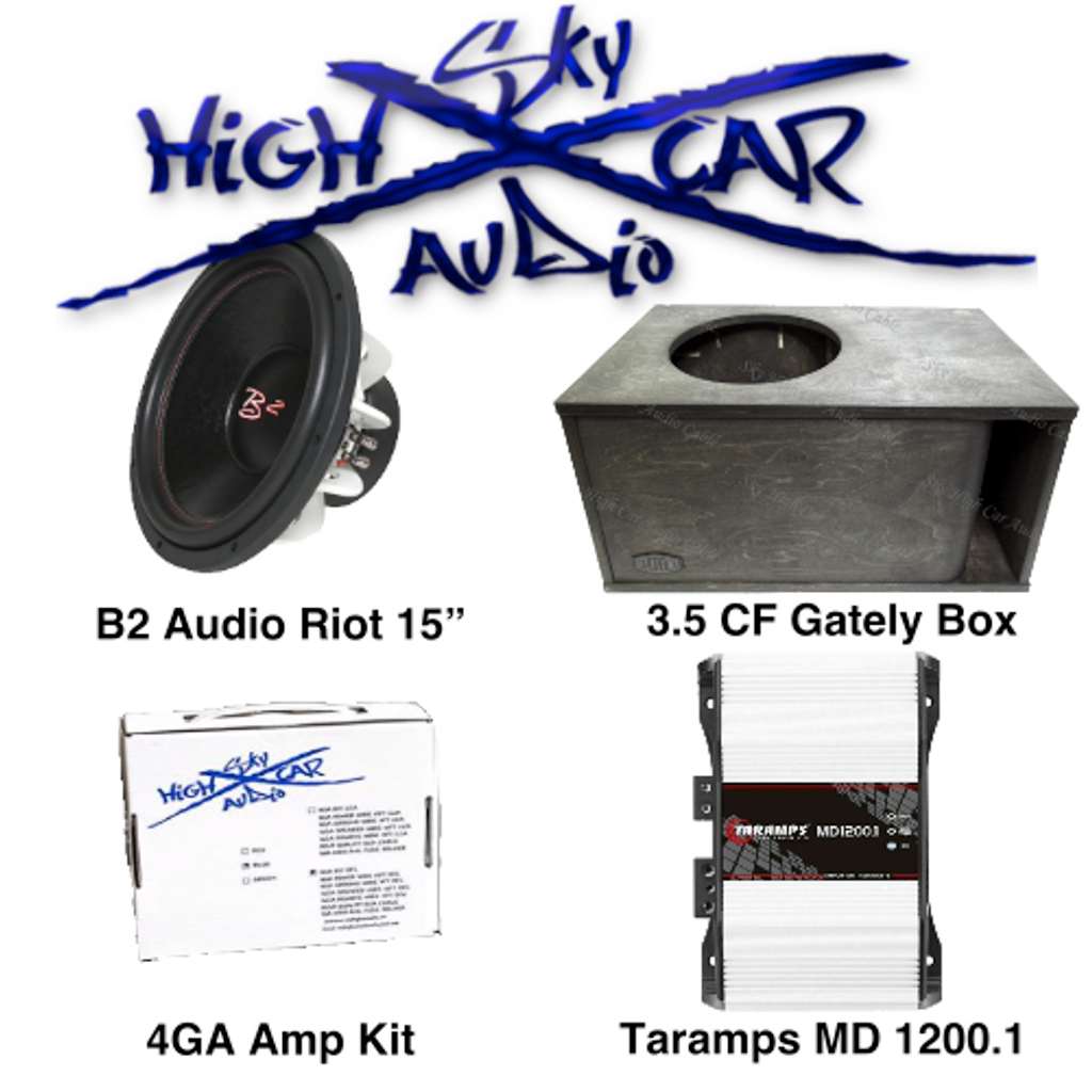 """B2 Audio Package Deal: (1) B2 Riot 15"""" D4, Gately Audio 3.5 CF Box, Taramps MD 1200.1 2 Ohm, and 4GA Amp Kit"""