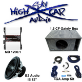 B2 Audio Sub Package Deal: 1-B2 Riot 12, 1- Bass 1200, 1-1.5 CF Gately Box, and 4GA Amp Kit