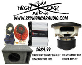 """Resilient Sounds Gold 10"""" Sub, Taramps MD-1800, Gately box Bass Package"""