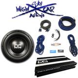 """DC Audio Package: Level 3 12"""" D2, 1.2K amp & 4 GA Sky High Amp Kit"""