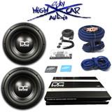 """DC Audio Package: (2) Level 3 12 """" D4, 2.0K amp & 0 GA Sky High Amp Kit"""