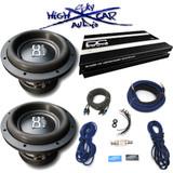 """DC Audio Package: (2) M3 8 """" D4, 1.2K Amp & 4 GA Sky High Amp Kit"""