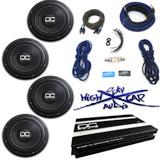 "DC Audio Package: (4) Level 1 10"" D2, 1.2K amp & 4 GA Sky High Car Audio Amp Kit"