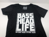 Basshead Life Clothing Women's Box Logo Charcoal Heather/White