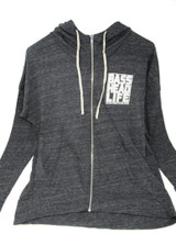 Basshead Life Clothing Women's Box Logo Charcoal Heather/White (Chest) Zip Up Hoodie