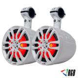 "DS18 NXL-8UTV HYDRO 8"" SLIM WAKEBOARD POD TOWER SPEAKER WITH INTEGRATED RGB LED LIGHTS 375 WATTS (PAIR)"