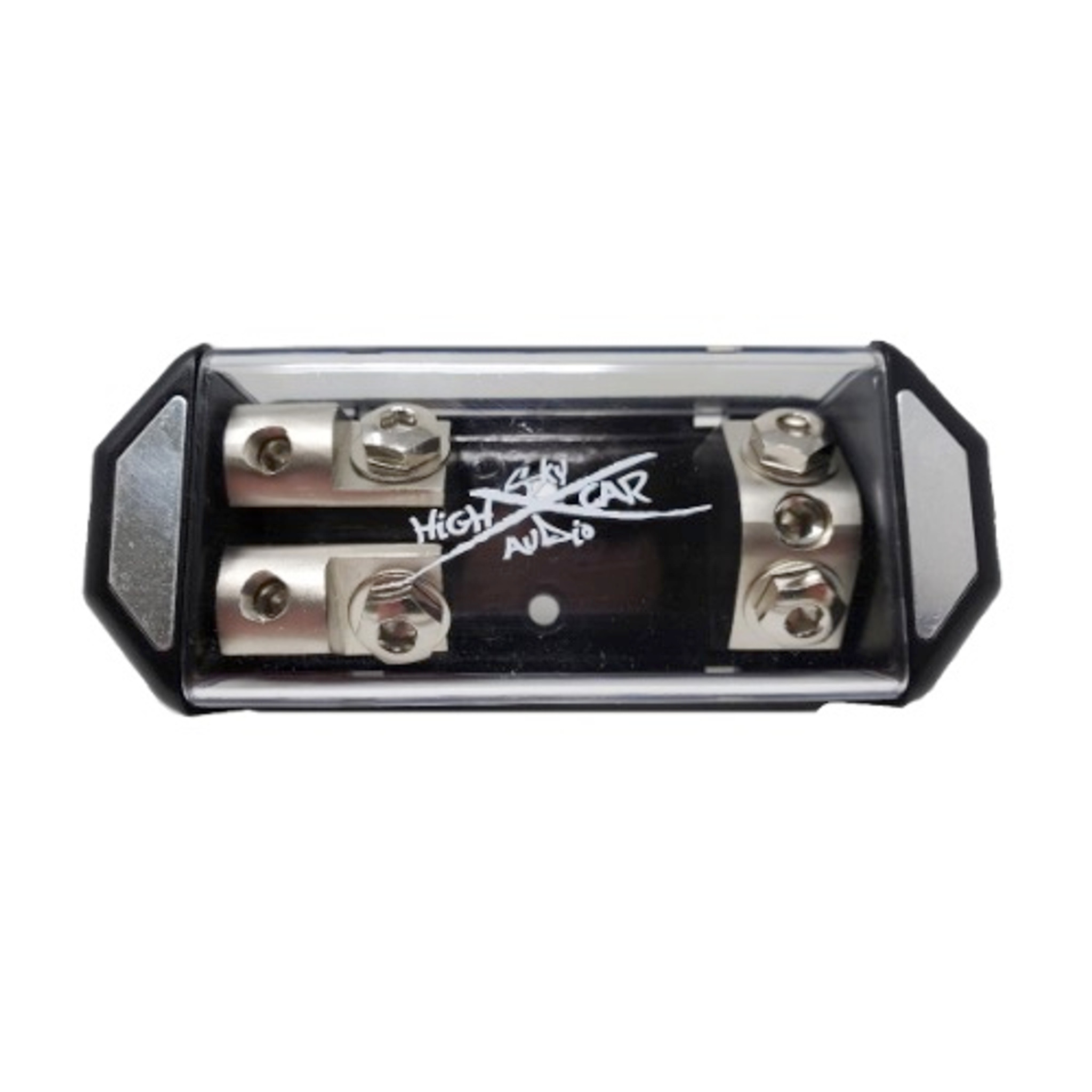 Sky High Car Audio Ring Terminal ANL Fuse Holder BLACK Logo Nickel Plated