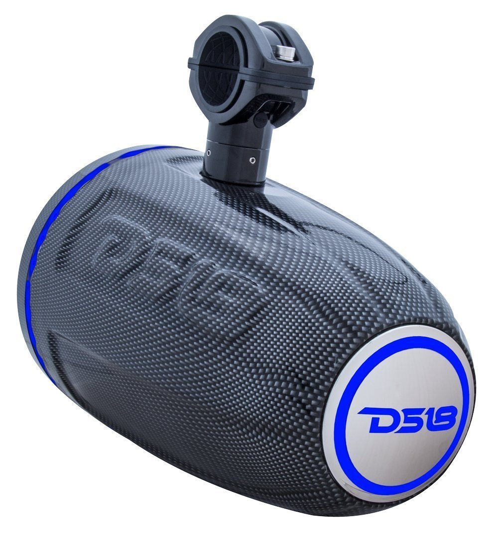 DS18 CF-8TP MARINE, 2-WAY SPEAKER SYSTEM WITH RGB LED LIGHT PAIR 8 350 WATTS (Black Carbon Fiber)