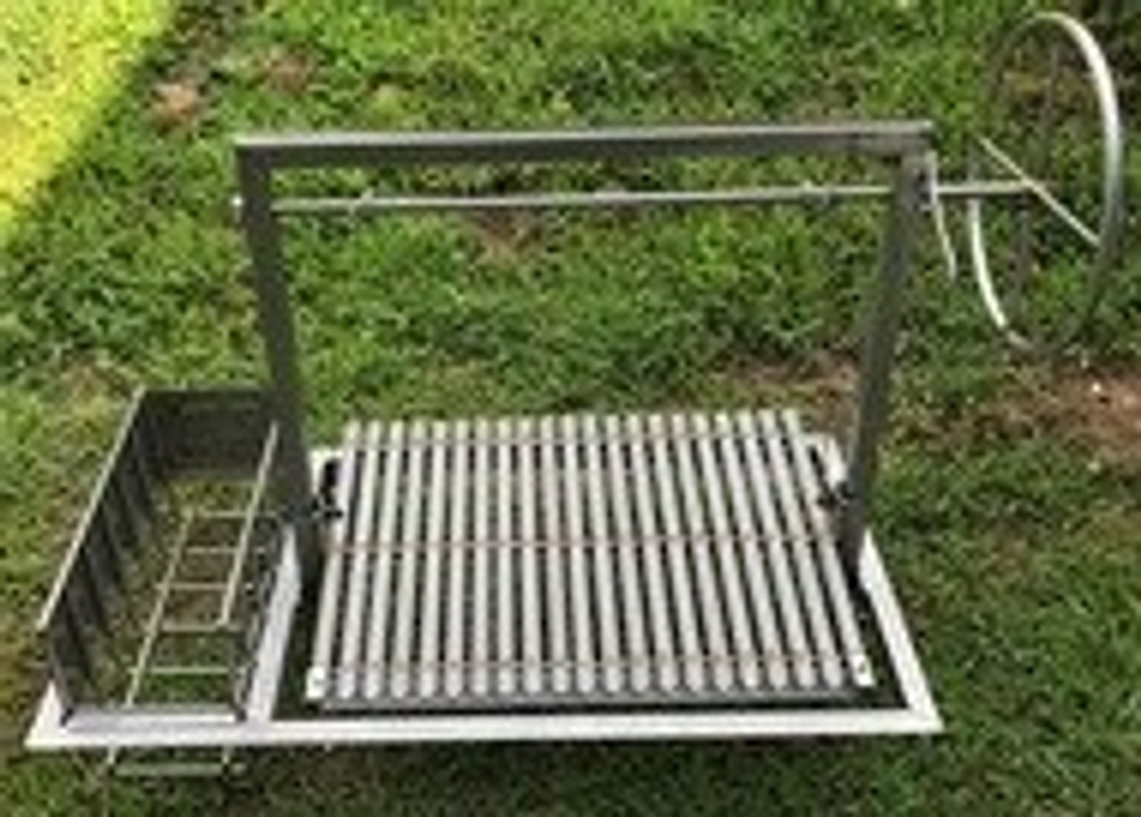 Stainless Steel Argentine BBQ Grill Kits with Side Brasero and a 4 Sided Flange