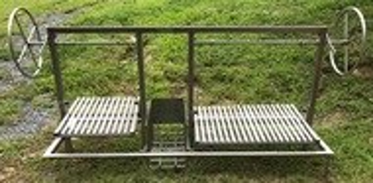 Stainless Steel Split Argentine BBQ Grill Kits with a Center Brasero, 4 Sided Flange, and Two Seperate Side Wheels