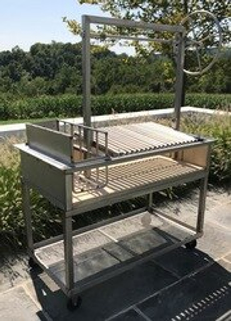 Stainless Steel Argentine Counter Drop in Grills with a Firebox and a Side Brasero