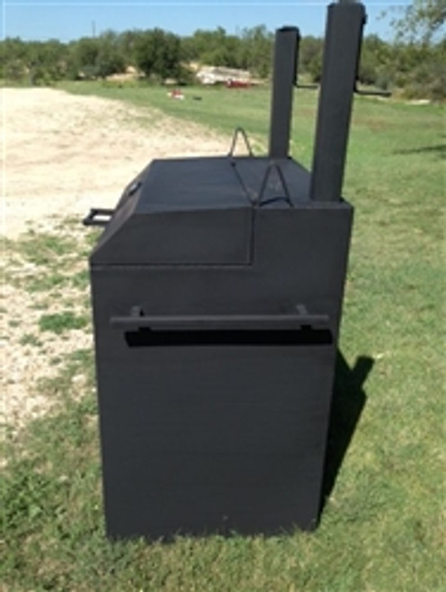 Wood Fired Smoker cast out of Black Steel  with black handles and two smoke vents.