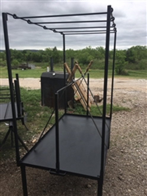 "Fire Table Meat Hanging Package Includes High Hanging Stand with 2 long cross rods and 4 short cross rods and 16 poultry hooks. It mounts on our 63"" X 36"" Fire Table"