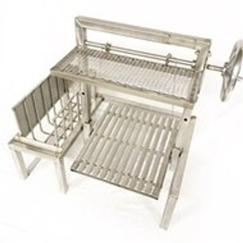 Stainless Steel Standalone Argentine Grill Kits with Brasero and Warming Rack