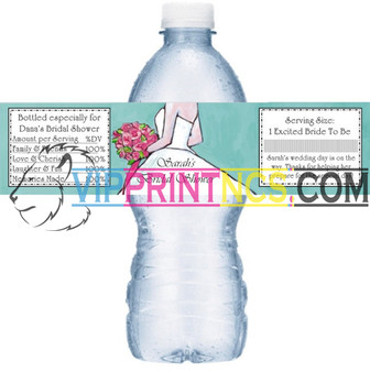 "CUSTOM WATER BOTTLE SELF ADHESIVE LABELS 1.25"" x 8.5"" BIRTHDAY SWEET 16"