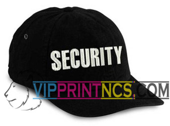 BLACK EMBROIDERED SECURITY HAT