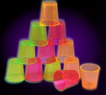 2 OZ PLASTIC SHOT GLASSES ASST COLORS
