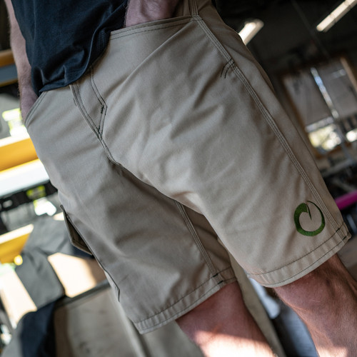TAN SHARKFIN CARGO SHORTS
