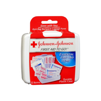 Johnson & Johnson First Aid To Go! Portable Mini Travel Kit, 12 pieces