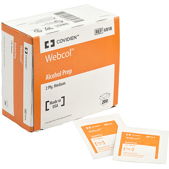 Covidien Webcol Alcohol Prep Pads, Medium 2 PLY, 200 Packets