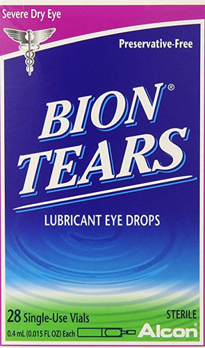 Alcon Bion Tears Lubricant Eye Drops For Dry Eyes, 28 Count