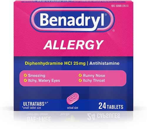 Benadryl Ultratabs Antihistamine Allergy Relief Tablets, Diphenhydramine HCl 25mg, 24 ct