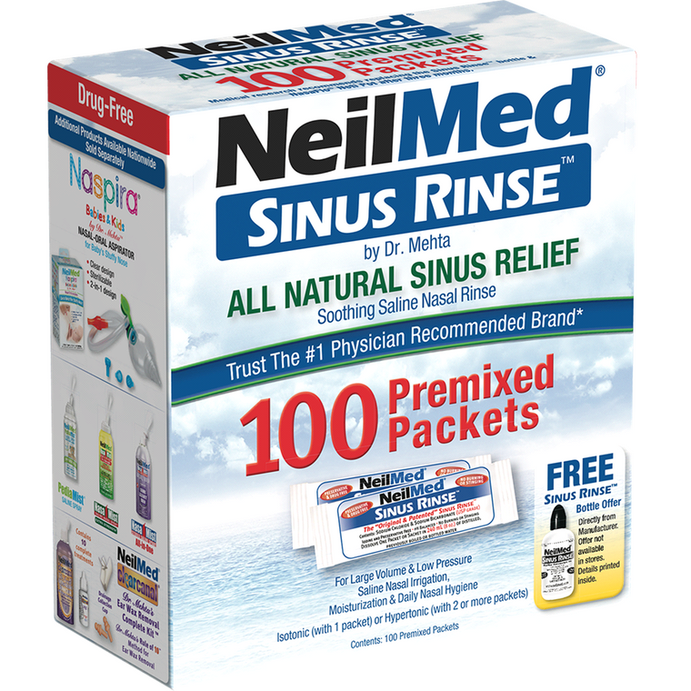Neilmed Sinus Rinse All Natural Relief Premixed Packets,  100 ct