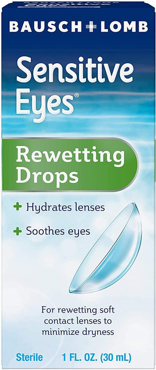 Bausch & Lomb Genuine Sensitive Eyes Rewetting Drops - Hydrates Lenses & Soothing Eyes - For Rewetting Soft Contact Lenses to Minimize Dryness - Sterile - 1 FL. oz. (30mL)