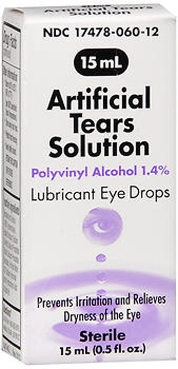 Artificial Tears Polyvinyl Alcohol 1.4 % Solution Sterile Lubricant Eye Drops - Prevents Irritation and Relives Dryness of the Eye - Relieve Dryness of Eye - 15 mL (0.5fl. oz.)