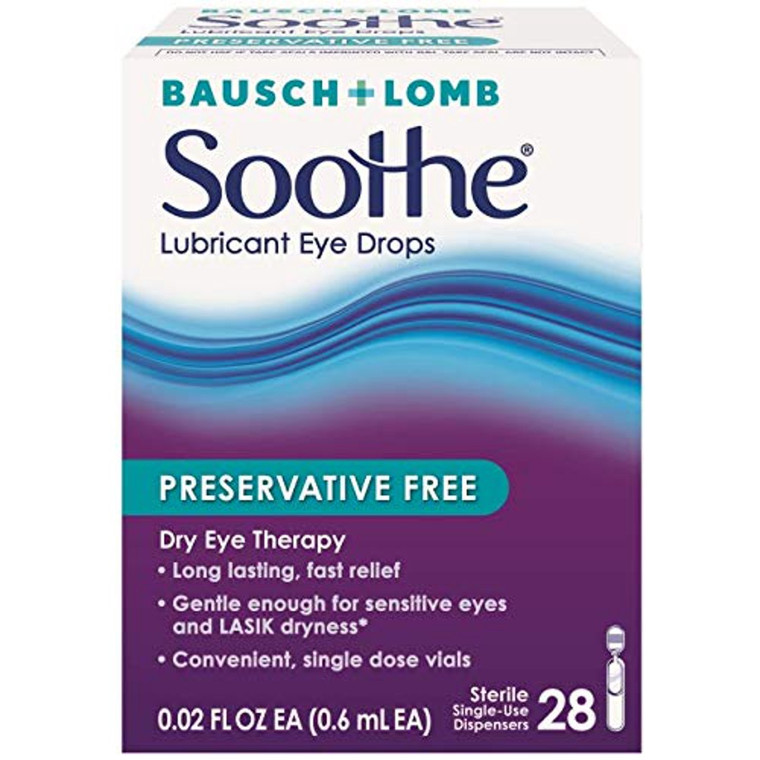 Bausch & Lomb Soothe Preservative-Free Lubricant Eye Drops, 28ct