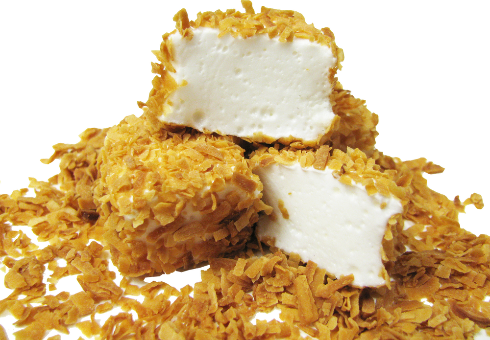 Our homemade Vanilla Marshmallows with crunchy toasted coconut.  A great childhood memory!