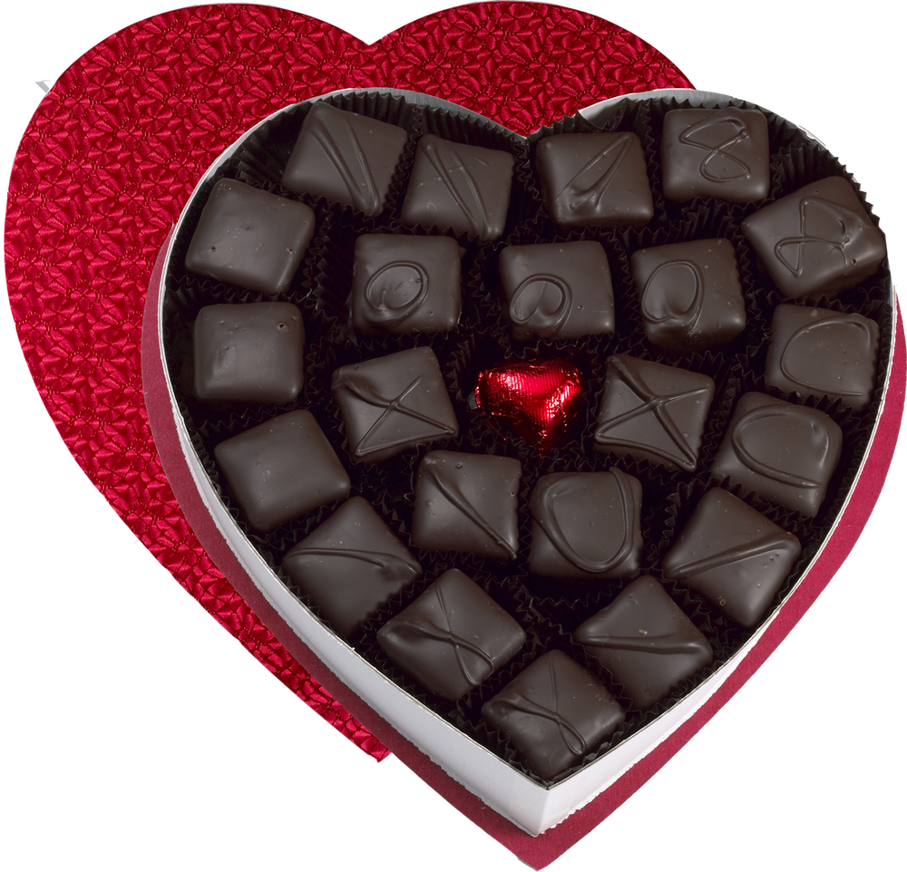 Assorted flavors of dark chocolate covered Marshmallows in a beautiful heart-shaped box.  Flavors: Vanilla, Chocolate, Strawberry, Mint, Maple, Coffee, Banana, Pistachio, Vanilla with Caramel on the Bottom.  21 pieces per box.