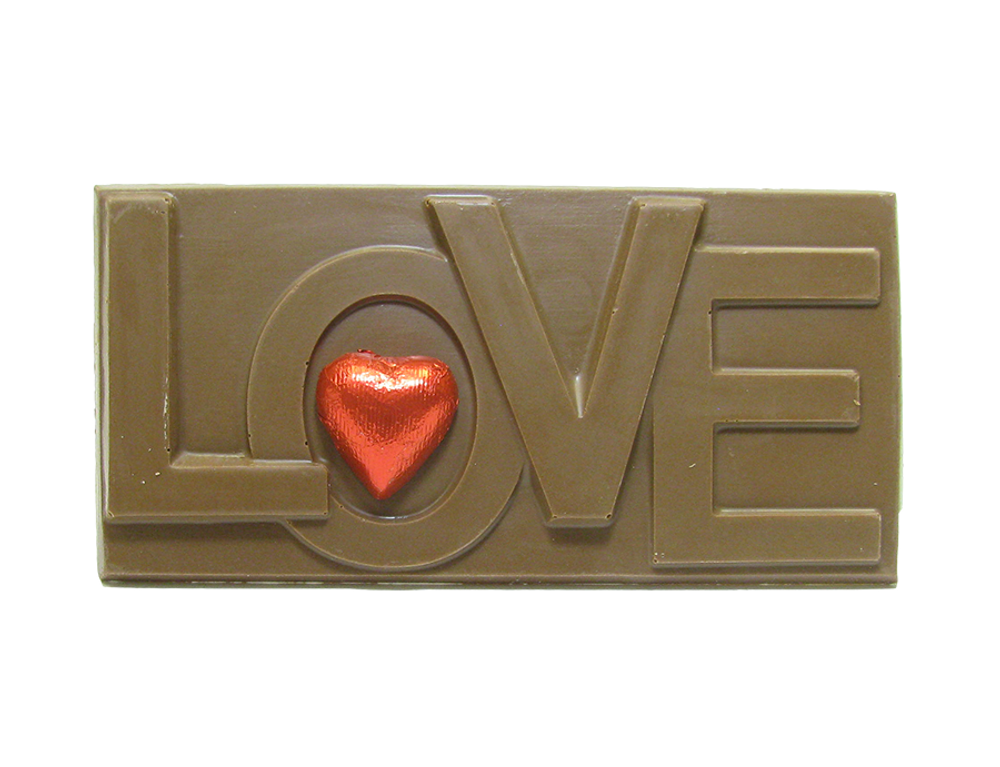 Solid chocolate Love Bar weighing 5.5 ounces.