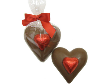 Solid chocolate heart weighing 2 ounces.  Delicious and cute!