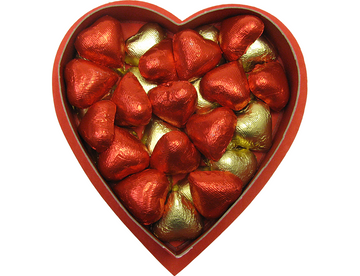 Solid chocolate foiled Hearts weighing 9 ounces.  Yum, yum, yum!