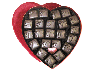 Dark chocolate covered Vanilla Marshmallows with a crunchy square of graham cracker on the bottom in a beautiful heart-shaped box.  21 pieces per box.