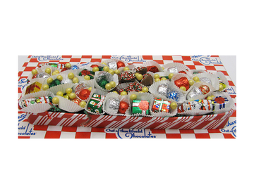 Long Striped Christmas Tray  (3-section)