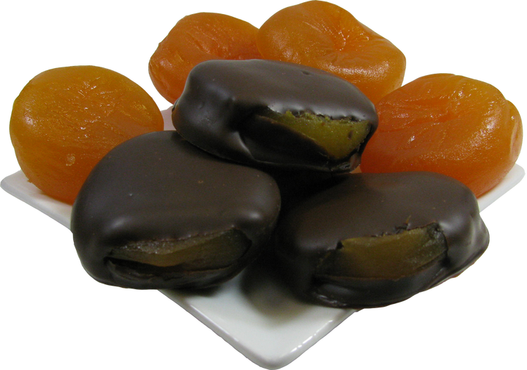 Flavorful candied apricots dipped in either milk or dark chocolate.