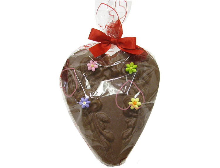 Solid chocolate heart weighing 9 ounces.  Delicious and beautiful!