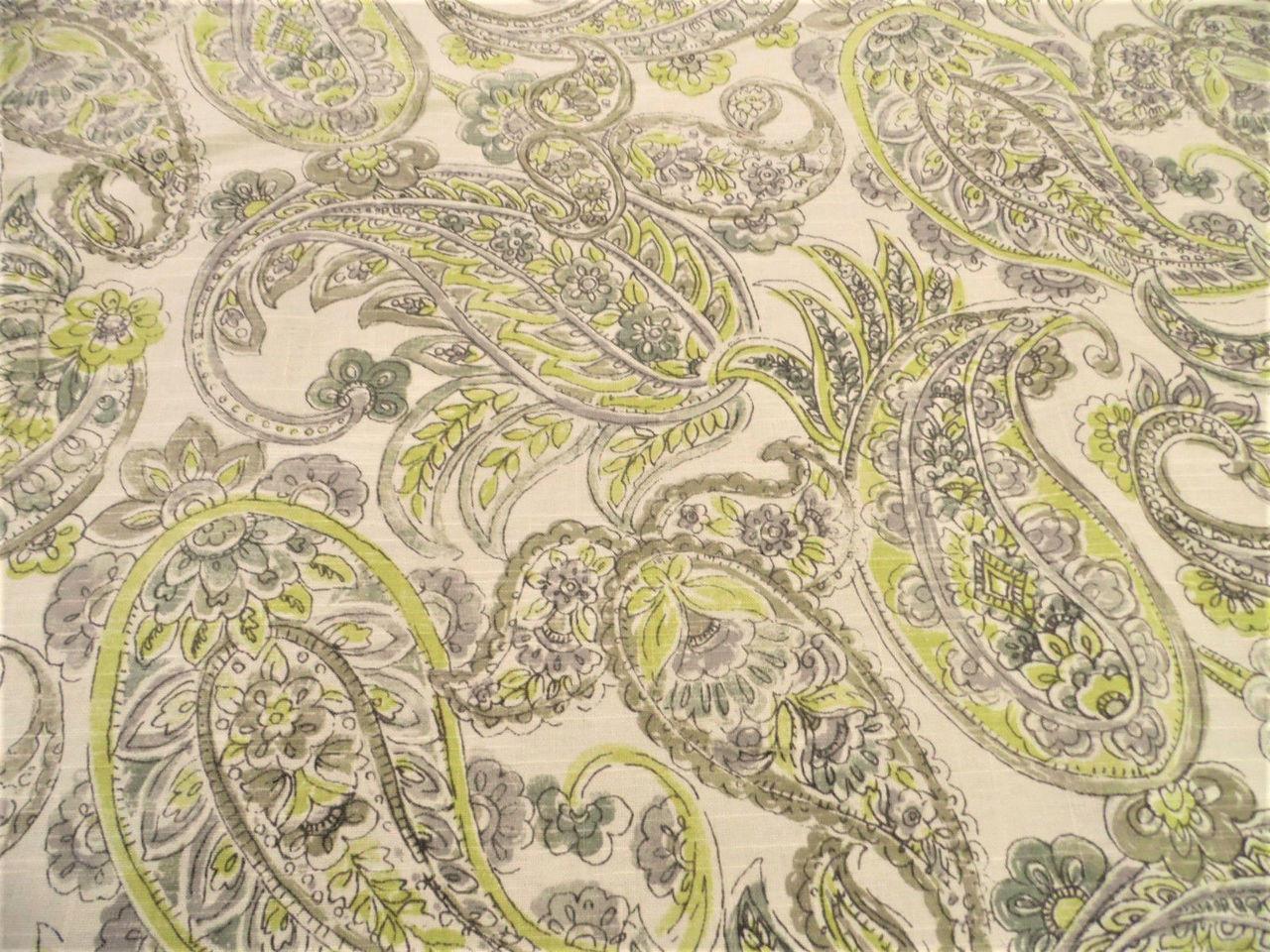 Upholstery Drapery Waverly Shabby Chic Paisley Yellow Grey Linen