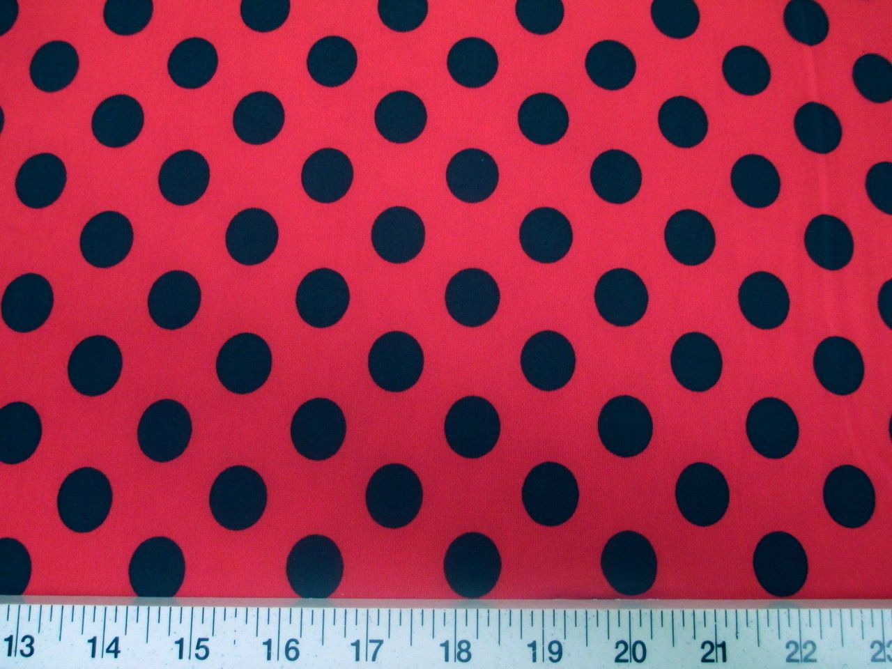 c2aa6767272 Printed Lycra Spandex Stretch Red with Black Polka Dots - Discount Designer  Fabric - Paylessfabrics.com