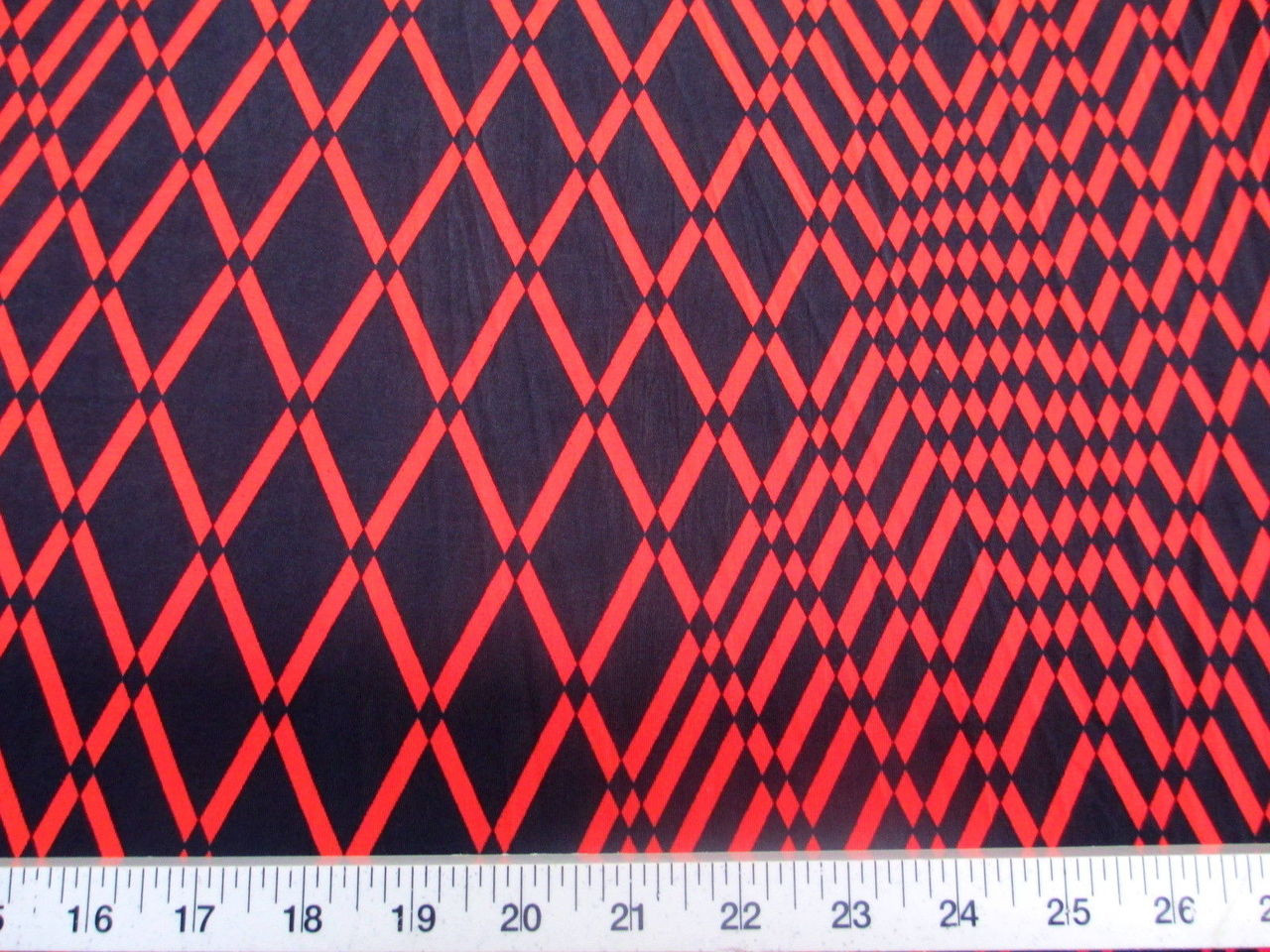 a3503a7db2870b Printed Lycra Spandex Stretch Red Orange Geometric Diamonds - Discount  Designer Fabric - Paylessfabrics.com