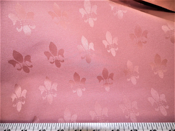 Discount Fabric Upholstery Drapery Twill Jacquard Fleur de Lis Dusty Rose 36DR