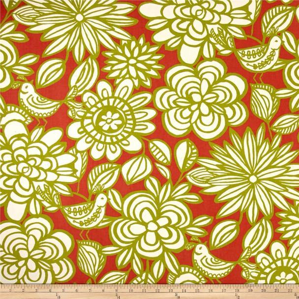 Discount Fabric Richloom Upholstery Drapery Linen Mcvie Mango Floral Birds 11MM