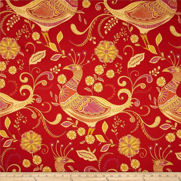 Discount Fabric Richloom Upholstery Drapery Sateen Fantasy Indiar Peacocks 21MM