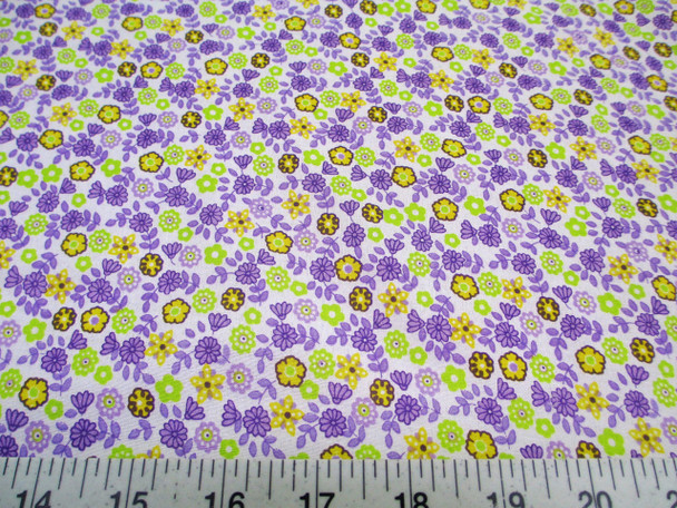 Discount Fabric Cotton Apparel Purple, Yellow and Green Floral 204J